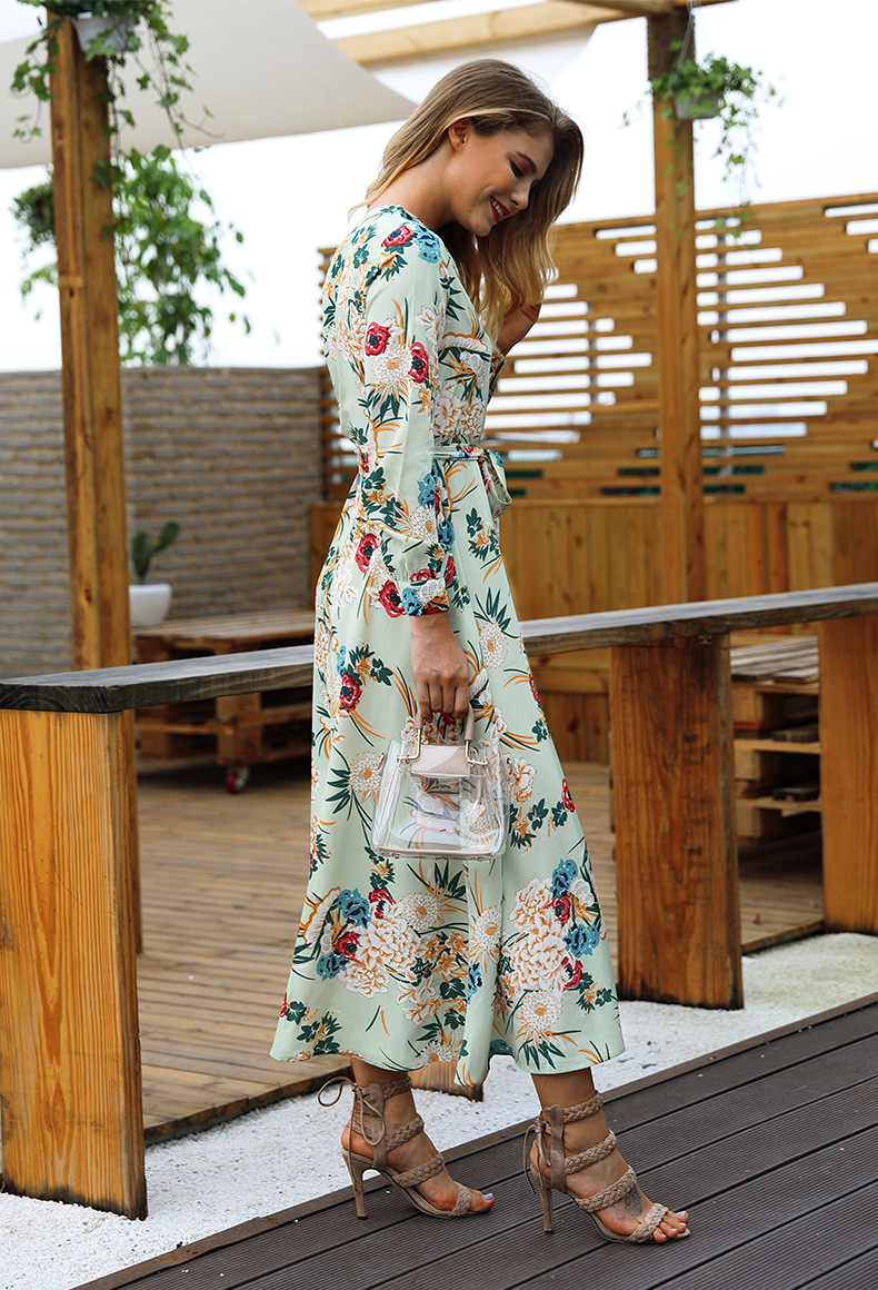 Fall New Women's Vacation Style Printed V-neck Long Sleeve Belt Long Dress NSKA259