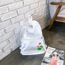 2018新款透明双背包韩版书包女中学生双肩包学院风防水印花沙滩包
