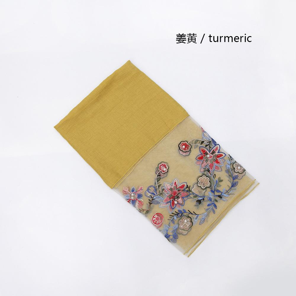 义乌货源网纱小花朵钉珠女士围巾 Amazon旅游度假外贸围巾批发
