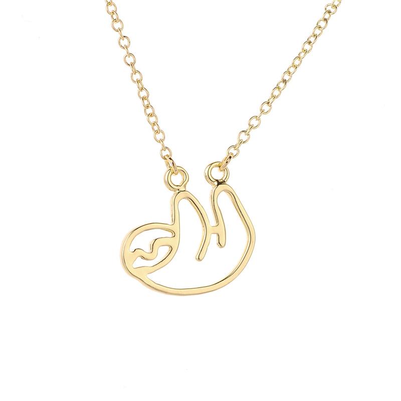 Hollow small sloth necklace koala bear bear pendant necklace female clavicle chain wholesale NHCU206502