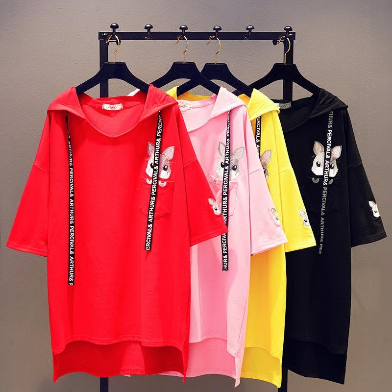 2019夏季新韩版宽松大码兔子刺绣T恤女蝙蝠衫中长款卡通连帽上衣