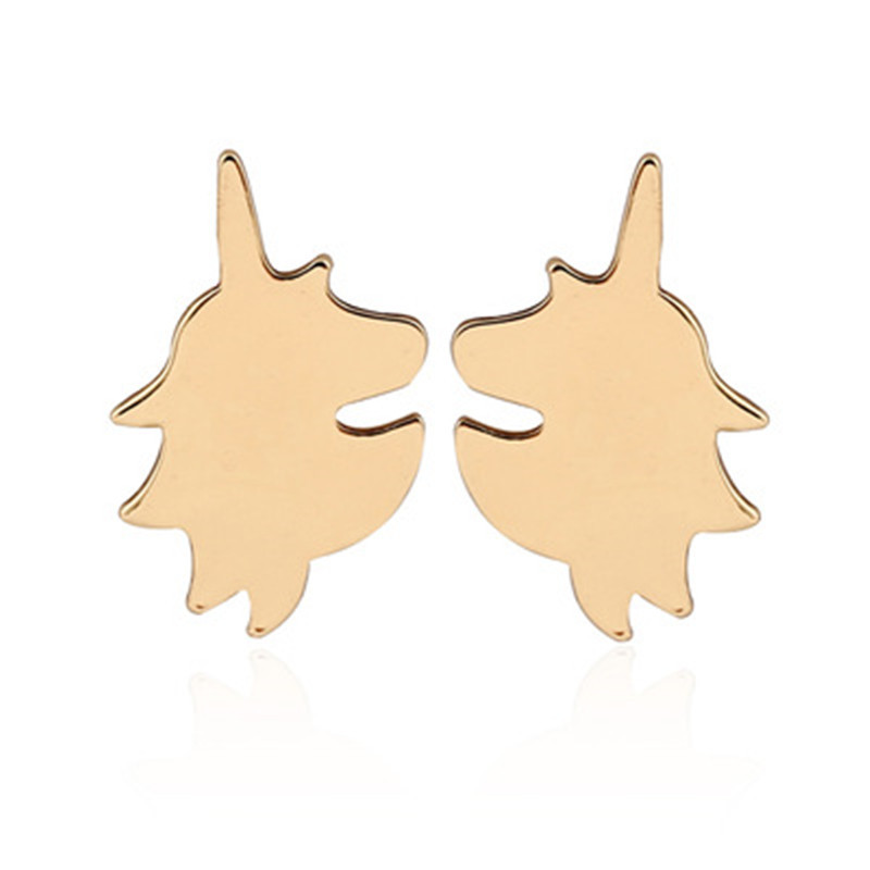 Simple cartoon unicorn earrings environmental protection alloy plating animal horse head earrings wholesale NHCU206470