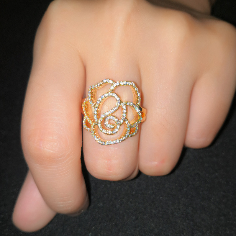 Copper Fashion Flowers Ring  (Alloy-7)  Fine Jewelry NHAS0391-Alloy-7