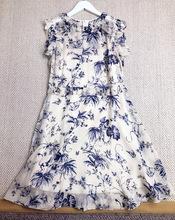 外贸原单尾货精致韵味青花瓷系列印花荷叶边装饰真丝两件套连衣裙