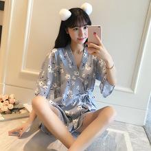 2019新款夏季日式和服花朵短袖短裤睡衣女套装薄款可外穿家居服
