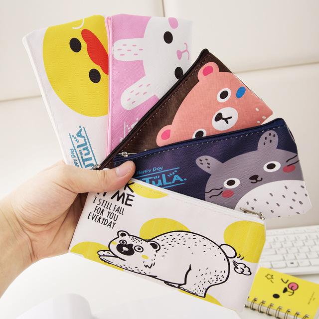 新款韩国创意文具 可爱小清新PU文具袋卡通款笔袋笔盒