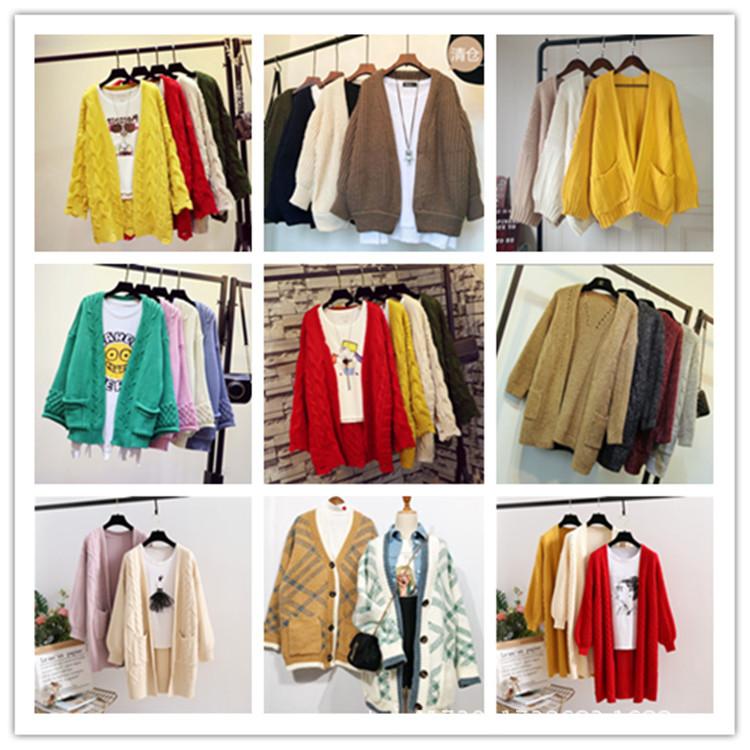 秋冬季女裝時尚中長款加厚針織開衫外套 庫存地攤毛衣低價清倉
