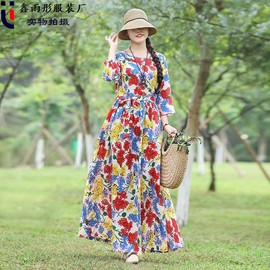Real spring new cotton and hemp dress national style large size printing loose thin cotton hemp dress female