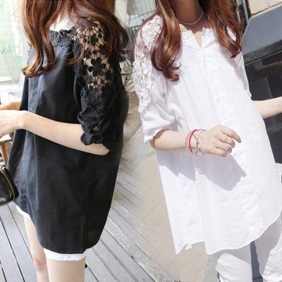 新款夏装韩版大码女装胖MM衬衣蕾丝拼接镂空中长款打底裙子 女