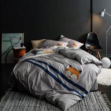 全棉133x72贴布绣款 全棉素色纯色单色全棉四件套 床单款床笠款