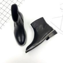 2018欧美新款圆头牛皮女鞋链条专属侧拉链粗低跟舒适女短靴