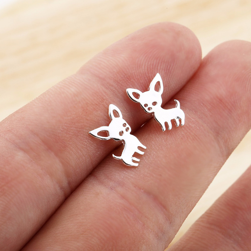 Cartoon animal puppy cat deer earrings necklace set NHCU146645