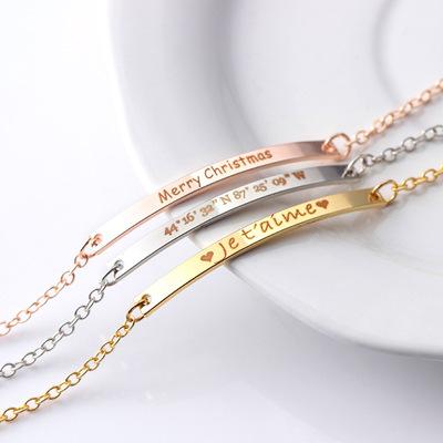 圣诞节日礼品私人订制铜饰品来图订做免费刻字光面手链手镯