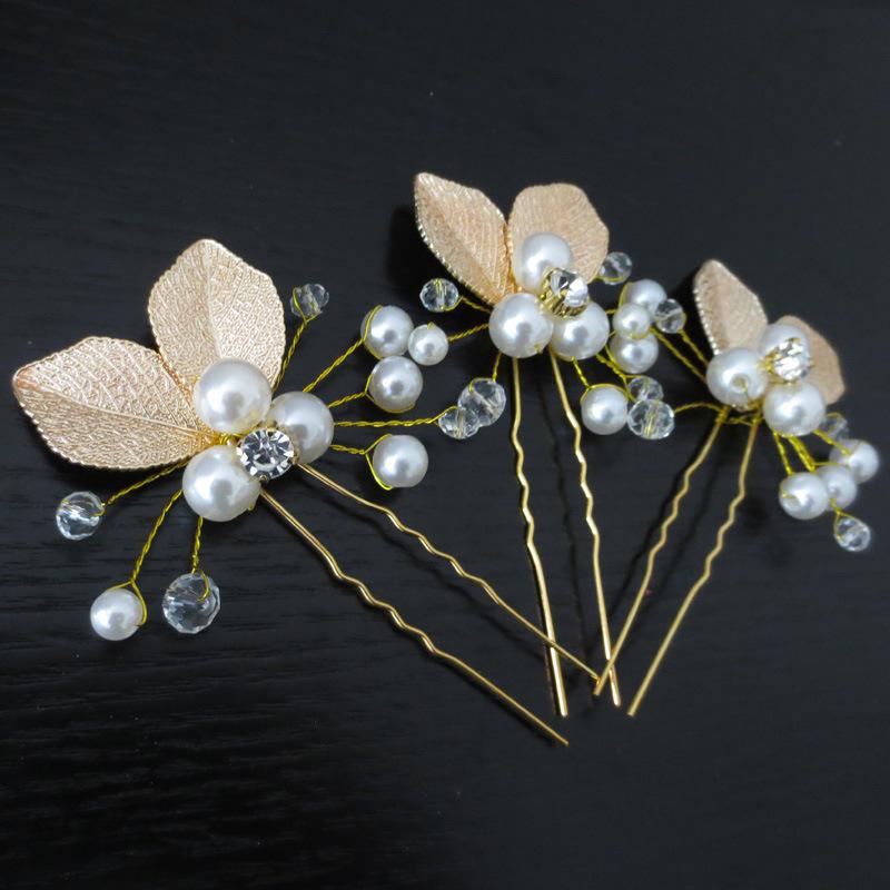 新款手工金色叶子新娘头饰发钗 韩式盘发珍珠发叉发簪插针U型夹发