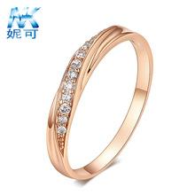 新款高品质欧美跨境外贸饰品镀玫瑰金白金简单情侣戒指批发代发