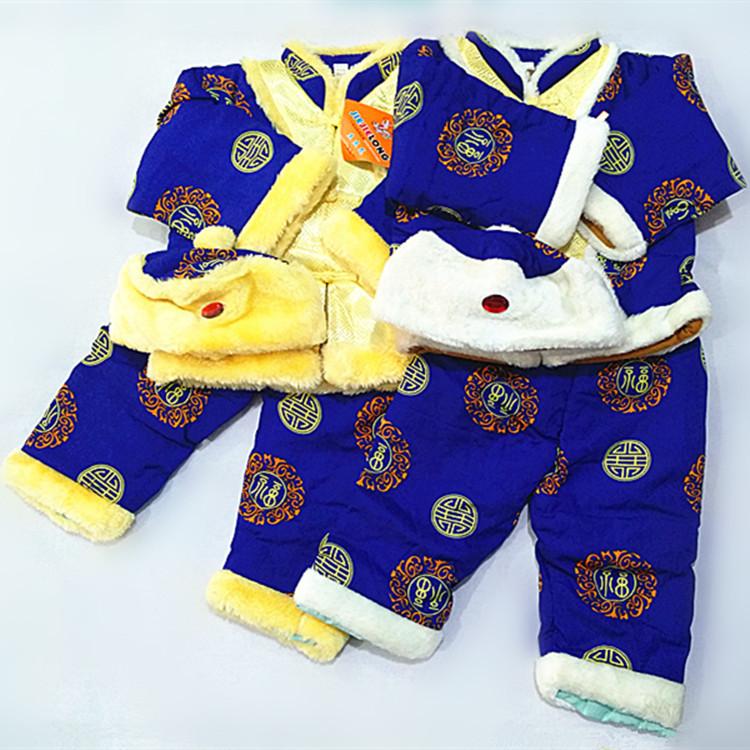 儿童冬季外穿棉衣唐装男童女童三件套唐装外衣批发小童冬季保暖套