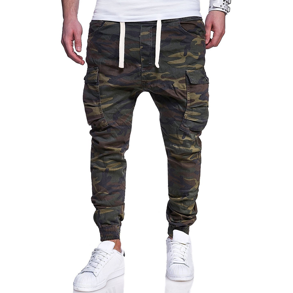 Spring and autumn new men's large camouflage printed casual pants tether belt corset Harun pants battlefield camouflage pants