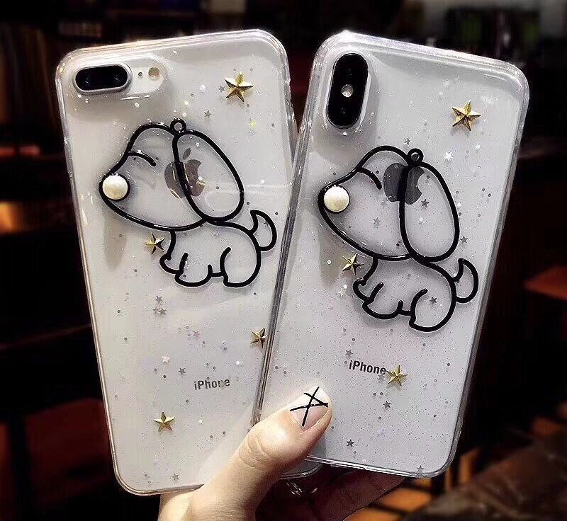 Girl heart apple x soft shell Epoxy glitter anti-fall iphone8 New 6s Korean puppy dog ​​transparent glitter