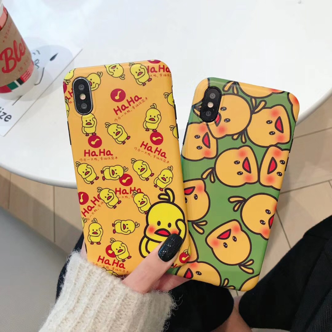 Small yellow duck for iPhone XS Max mobile phone shell net red apple XR silicone soft shell cartoon yellow 7plus