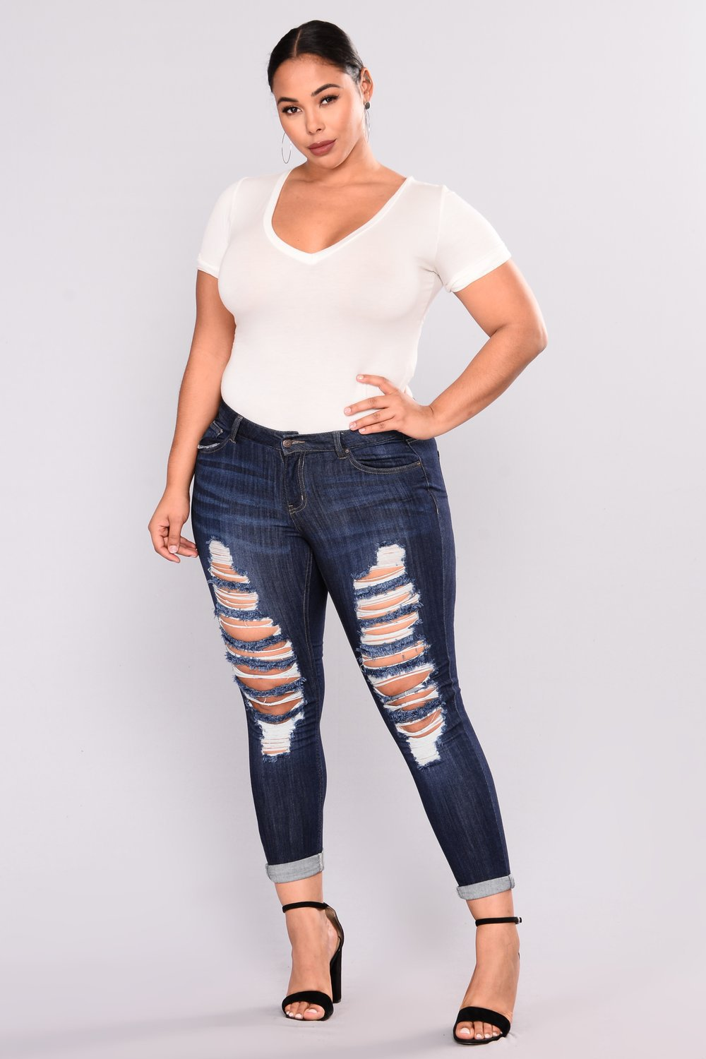 KiliFun Collection 515 Large Size Women's New African Jeans Stretch Denim Hole Ladies Feet Pants Black 3xl 13