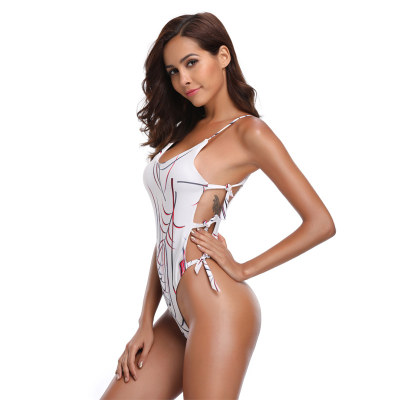 Beach holiday wind milk silk stripe print strap swimwear NHDF151645