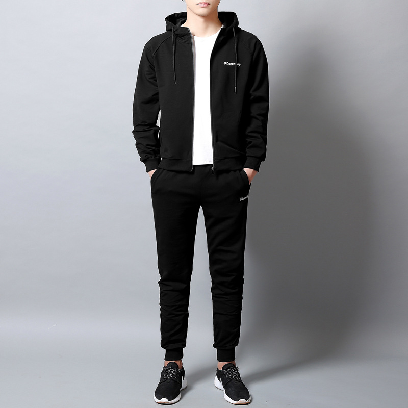 2018 men's new spring and autumn long sleeve leisure sports sweater set cardigan sweater hooded cardigan two piece set