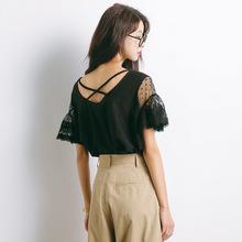 2018夏季新款韩版大码女装宽松百搭甜美蕾丝上衣短袖T恤女