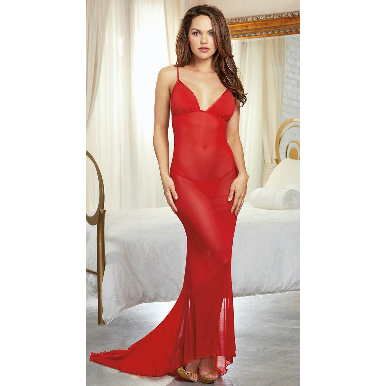 d9650720f3 Compre Malla Transparente Babydoll Vestido Largo Porno Lencería Sexy ...