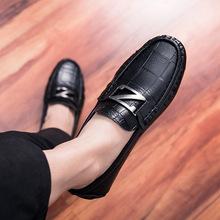 英伦休闲皮鞋男秋冬潮流豆豆鞋时尚加绒男鞋百搭保暖流行懒人鞋子