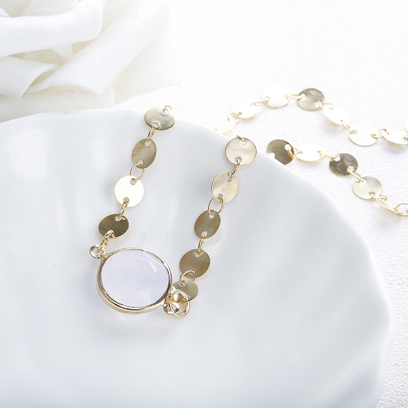 New jewelry fashion simple item decorated metal disc opal single layer pendant necklace NHPF197061