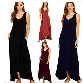Popular vest sling dress European and American sexy beach skirt solid color pocket long dress
