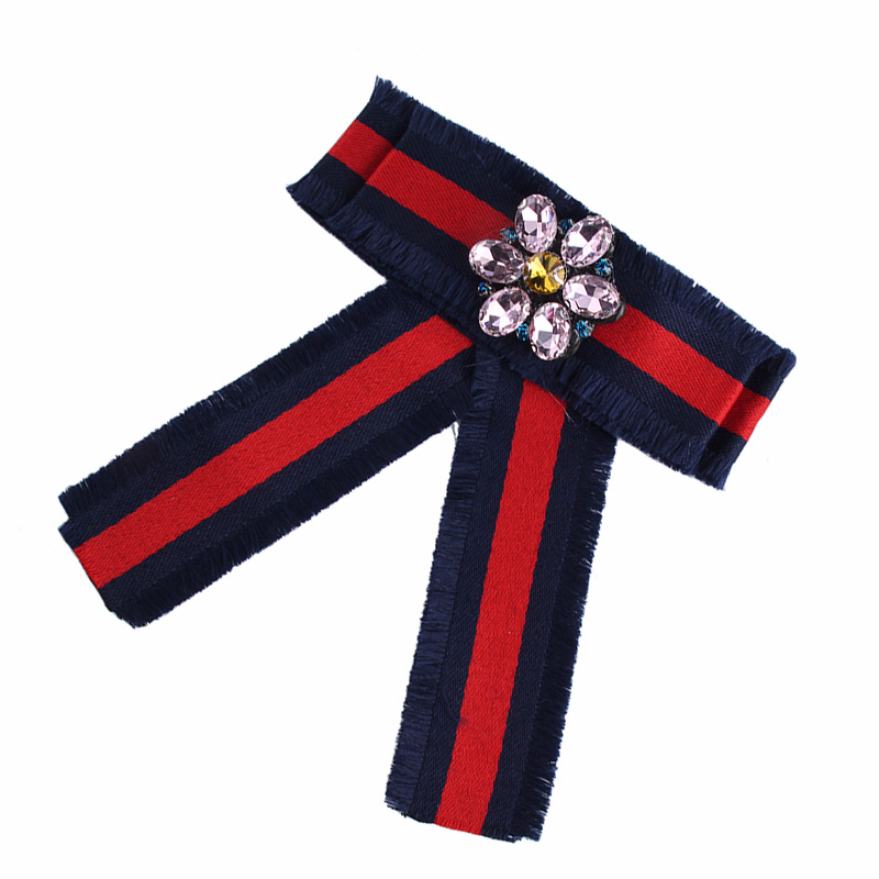 Alloy Fashion Bows brooch  (Red and blue stripes) NHJQ9947-Red and blue stripes