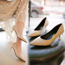 源头品质红色婚鞋猫跟尖头高跟鞋女 细跟新娘鞋百搭礼仪中跟单鞋