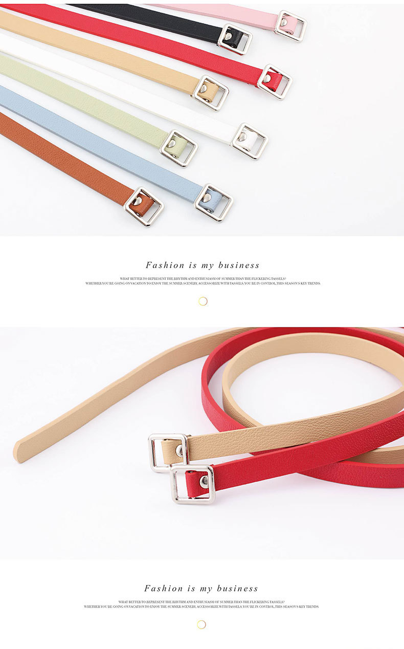 Needle-free square buckle belt ladies wild simple thin belt Korean dress decoration knotted strap double-sided belt NHPO204286