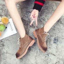2018冬季新款女式皮靴女鞋2014年春季前系带欧美短筒中跟