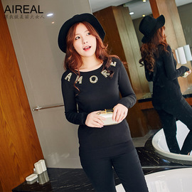 Spring new fat MM large size women's round neck letter base sweater to increase fat 0786