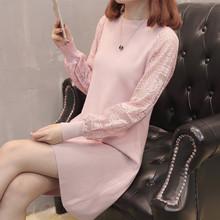 2018新款秋冬季韓版蕾絲中長款毛衣裙女士寬松長袖針織打底衫