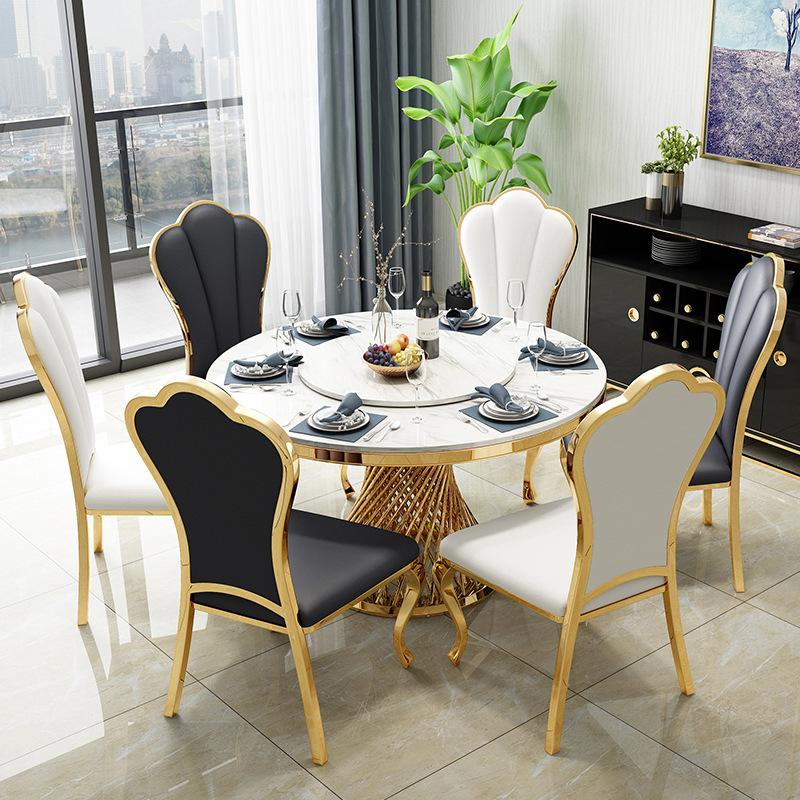 后现代轻奢餐桌椅套装大理石餐桌新古典样板房不锈钢北欧定制家具