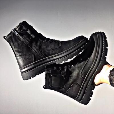 冬季新品高帮男鞋真皮马丁靴纯色磨砂牛皮圆头系带简约保暖耐磨