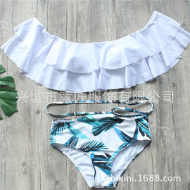 The new model is sold in pure white. Popular style lotus leaf shoulder bikini feather green leaf printed swimsuit