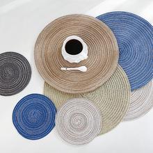 A2666圆形棉纱餐垫隔热西餐垫编织餐桌垫家居用品碗垫