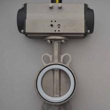 不锈钢对夹软密封四氟气动蝶阀D671XF-16天津川仪厂家直销