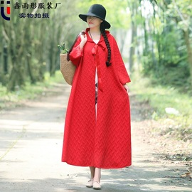 Spring embroidered cloak red medium and long embroidered hooded cotton and hemp coat