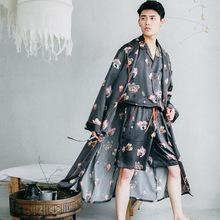 夏季新品絲綢睡袍男印花仿真絲薄款長袖春秋季大碼男士家居服