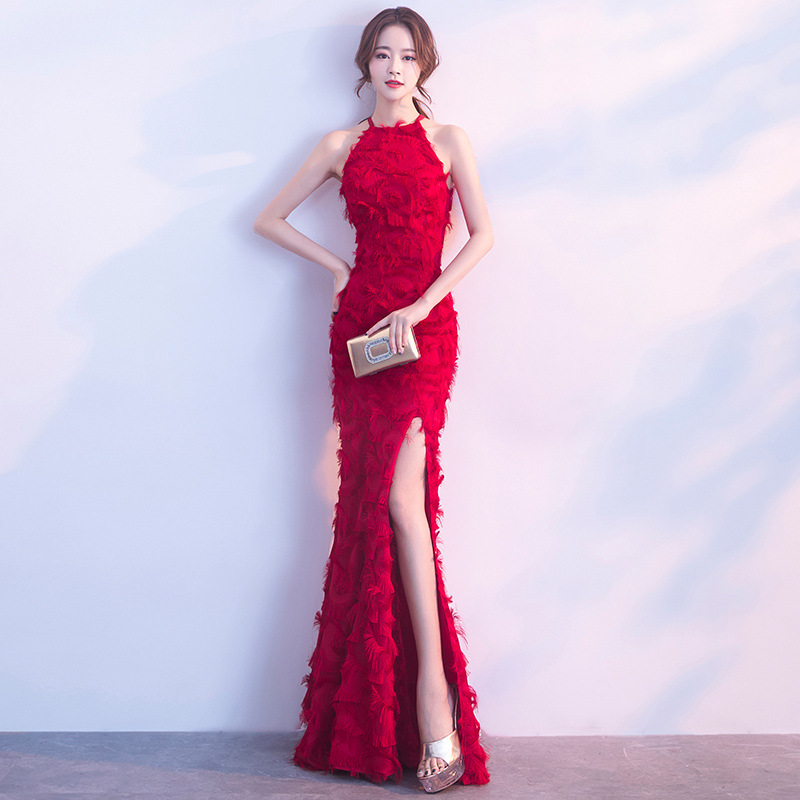 4231fcc5ee Fish Tail Toast Dress Bride 2019 new long sexy neck wedding banquet evening dress  skirt female red winter