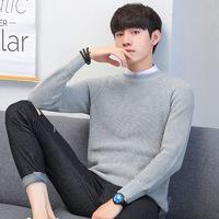 2018 новая коллекция мужской Стиль свитер осень-зима сезон корейская версия приталенный основывая трикотажный рубашка чистый хлопок свитер утепленный удерживающий тепло Одежда линия