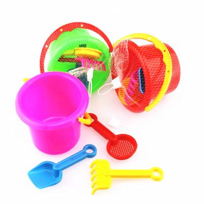 货源夏季热卖沙滩戏水玩具10厘米小号水桶四件网袋套装精致版厂家批发批发