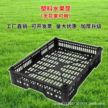 周转箱 塑料筐长方形 黑色加厚无花果框 水果蔬菜物料框