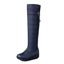 厚毛羽绒靴雪地靴 舒适厚底长靴平底过膝棉靴冬季女鞋加绒高筒靴