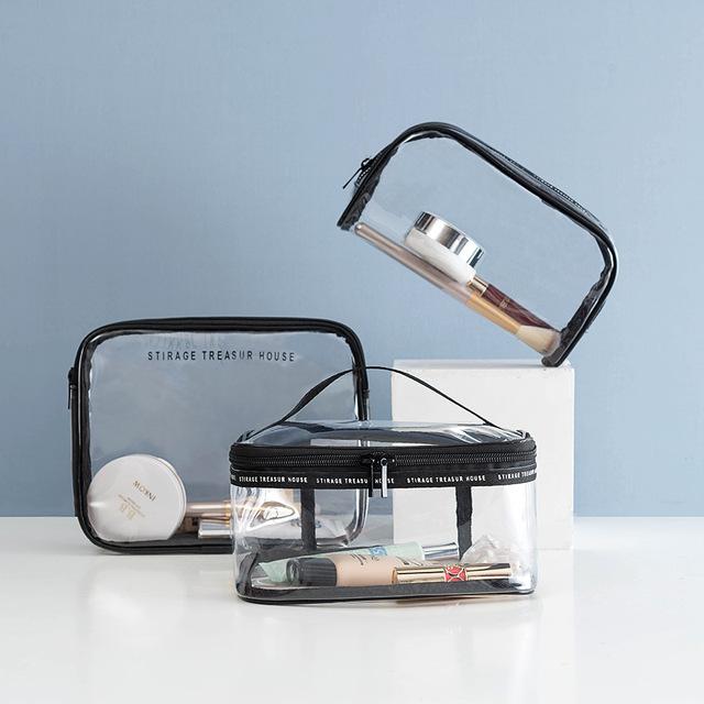 韩版新款透明化妆包四件套 PVC防水旅行收纳多功能洗漱品收纳包